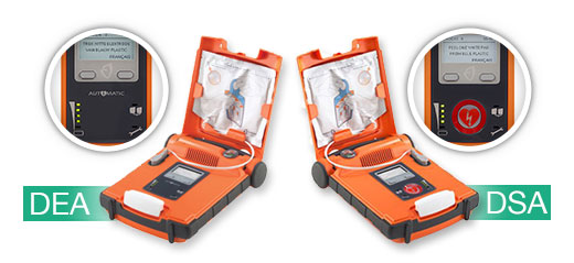 photo montrant la différence entre un défibrillateur entirement automatique (DEA)et semi automatique (DSA)