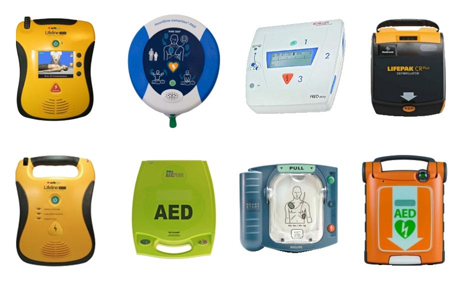 photo montrant différentes marques de défibrollateurs automatisés externes