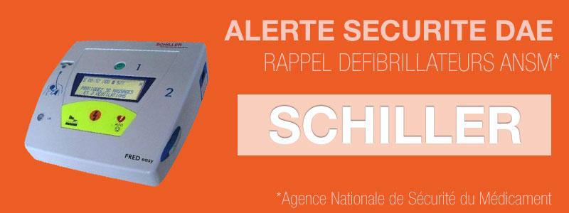 Alertes de sécurité défibrillateurs Schiller Fred Easy